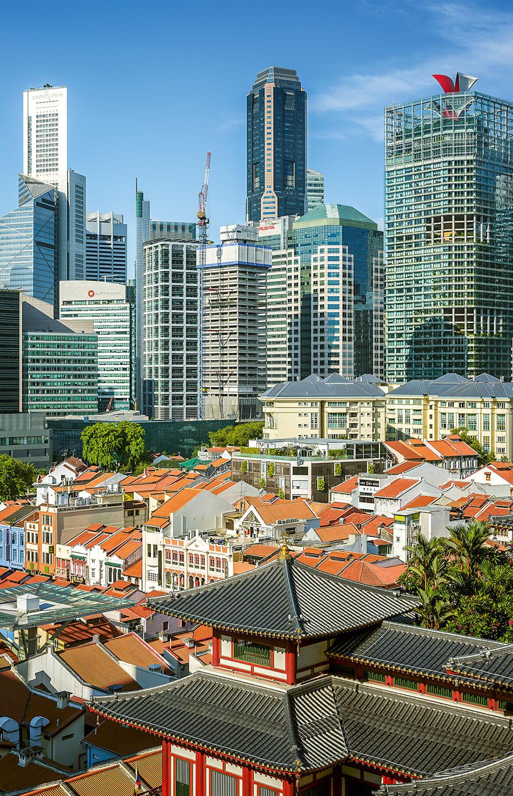 Blick von China Town in den Central Business District